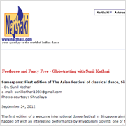 The Sunil Kothari Column - Samarpana First Edition of The Asian Festival of Classical Dance, Singapore